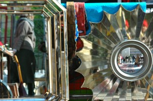 A mirror-stand at the Marché aux Puces de la Porte de Vanves in Paris