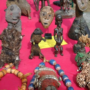 A stand sells African art at the Marché aux Puces de la Porte de Vanves in Paris