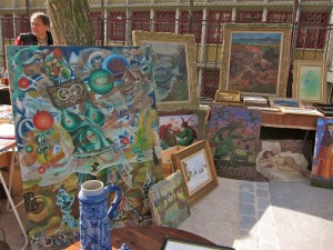 A stand selling art at the Marché aux Puces de la Porte de Vanves in Paris