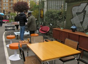 50s, 60s and 70s furniture at the Marché aux Puces de la Porte de Vanves in Paris