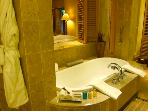 Bathtub in Suite 104 at the Saxon Hotel in Johannesburg, South Africa