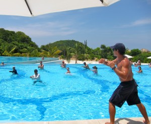 Water aerobics at Secrets Huatulco by Susan Manlin Katzman