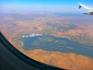 Victoria Falls from Plane Window