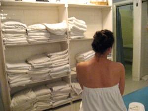 Woman in Bathhouse by Susan Manlin Katzman