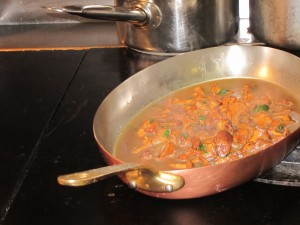 Chanterelles cooking at D'Chez Eux