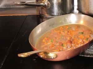 Chanterelles cooking at D'Chez Eux