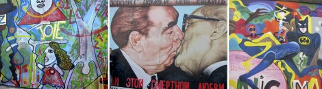 Collage of panels at the East Side Gallery