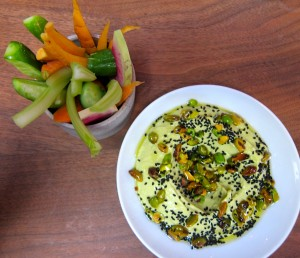 Avocado Hummus with Pistachio Salsa Verde & Nigella Seeds