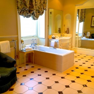 Bathroom in the Mary Shaw room at Inverlochy Castle Hotel