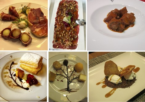 Tapas with Iberia ham, pork carpaccio, lamb stew and luscious desserts represent typical dishes found in Caceres.