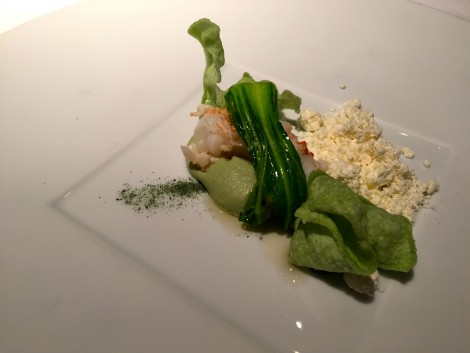 CRAWFISH in green, seaweed bread and solidify olive oil