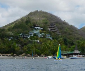 Jade Mountain (brown) sits above Anse Chastanet (green)