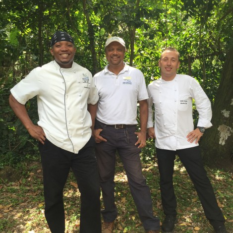 From L to Right: Elijah Jules, chef de cuisine at Jade Mountain (and cooking teacher at Emerald Estates); horticulturalist Pawan Srivastava, Emerald Estates manager; and Stefan Goehcke, executive chef of the whole shebang.