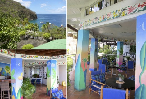 Piti Piton Bar at Anse Chastanet Collage by Susan Manlin Katzman
