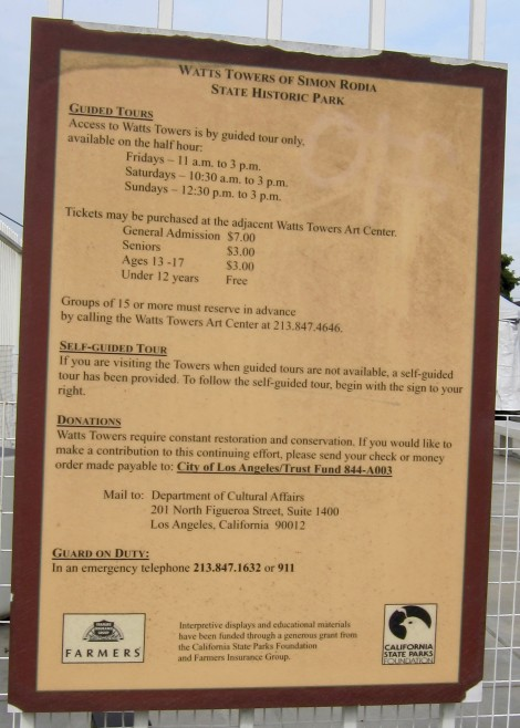 Ticket Information at Watts Towers of Simon Rodia State Historic Park by Susan Manlin Katzman