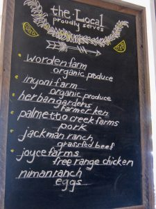 The Local serves locally sourced foods.