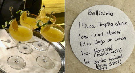 A collage of four Bellisimas and the recipe written on a coaster.