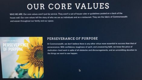 Statement of Commonwealth Bistro Perseverance of Purpose value.