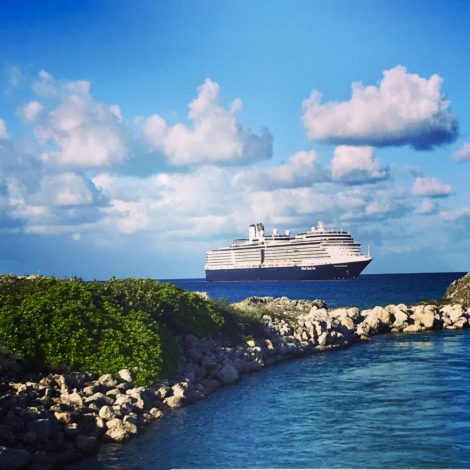 The Nieuw-Amsterdam cruise ship docked at it's private island Half Moon Cay