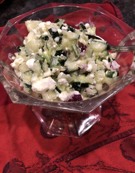 a bowl of chunky Cucumber Feta Relish