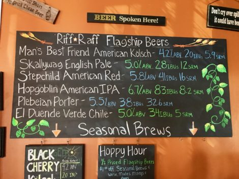 Sign of some beers sold at Riff Raff Brewery