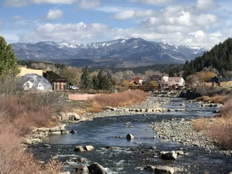 Pagosa Springs, CO, with backdrop of mountains