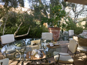 Table set for al fresco lunch at Cal-a-Vie.