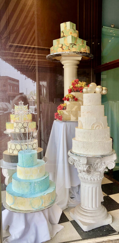 Cakes seen through Cravings window.
