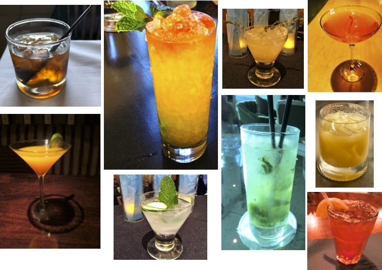 Collage of colorful cocktails.