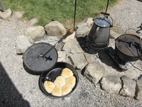 Biscuits cooked over and open fire.