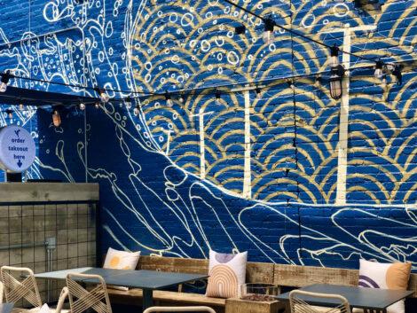 Painted brick wall at Edobox
