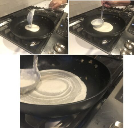 Cooking Dosa in a skillet