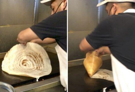 Rolling dosa into a cone